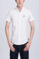 White Collared Button Down Plus Size Men Shirt for Casual Party Office