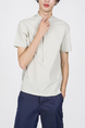 Beige Mandarin Collared Plus Size Polo Men Shirt for Casual Party Office