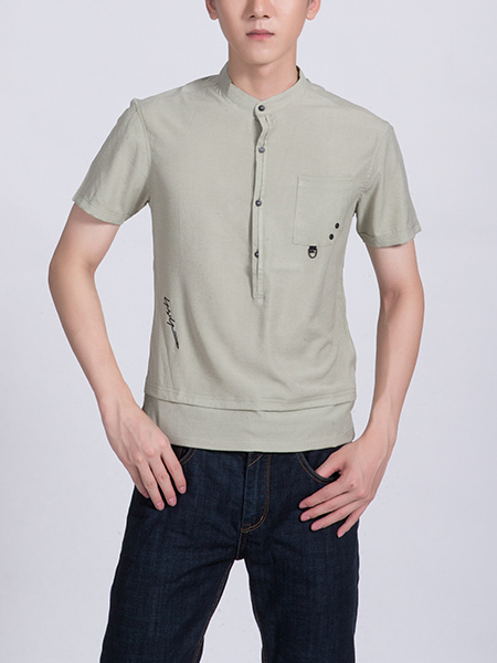Beige Mandarin Collared Chest Pocket Plus Size Polo Men Shirt for Casual Party Office