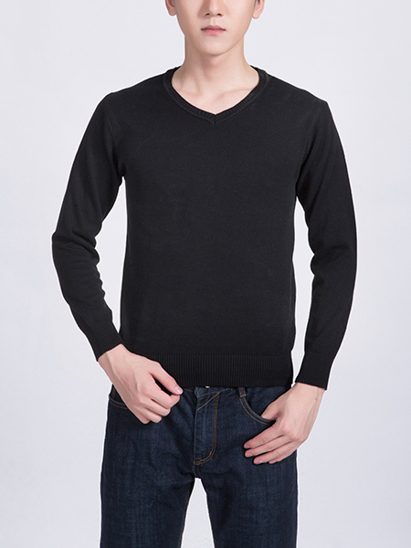 Black Solid Crew Neck Long Sleeve Men Sweater for Casual