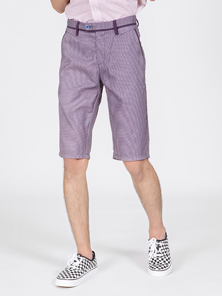 Purple Knee Length Men Shorts for Casual