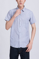 Blue Button Down Collared Chest Pocket Plus Size Men Shirt for Casual Party Office