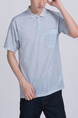Gray Collared Chest Pocket Polo Plus Size Men Shirt for Casual Party Office