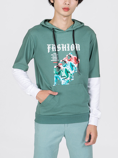 Green Long Sleeves Pockets Printed Long Sleeves Men Hoodie for Casual