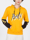 Yellow and Black Drawstring Pockets Long Sleeve Printed Men Hoodie for Casual