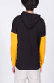 Black and Yellow Long Sleeve Drawstring Men Hoodie for Casual