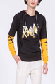 Black and Yellow Long Sleeves Pockets Drawstring Men Hoodie for Casual