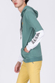 Green and White Long Sleeves Pockets Drawstring Men Hoodie for Casual