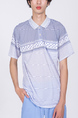 White and Blue Collared Chest Pocket Polo Men Shirt for Casual Party Office