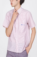 Pink Button Down Collared Chest Pocket Plus Size Men Shirt for Casual Party Office
