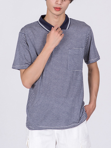 Blue and White Striped Chest Pocket Collared Polo Men Shirt for Casual Party Office