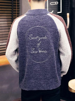 Blue White and Brown Men Plus Size Knitting Contrast Stand Collar Located Printing Men Cardigan for Casual