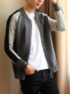 Black and Grey Men Plus Size Knitting Contrast Stand Collar Men Cardigan for Casual