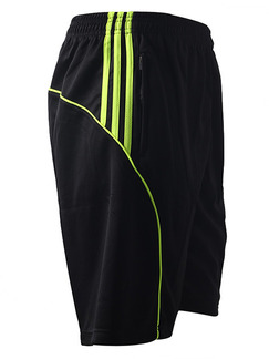 Black and Green Men Plus Size Contrast Stripe Sports Quick Dry Adjustable Waist Men Shorts for Casual Sports
