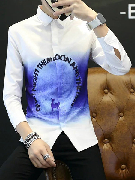 White and Blue Plus Size Slim Located Printing Lapel Buttons Long Sleeve Men Shirt for Casual Office