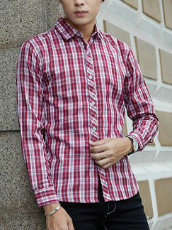 Red and White Plus Size Slim Grid Lapel Buttons Checkered Men Shirt for Casual