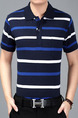 Blue and White Plus Size Loose Polo Collar Contrast Stripe  Men Shirt for Casual Office