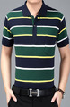 Blue Green Yellow Plus Size Loose Polo Collar Contrast Stripe  Men Shirt for Casual Office