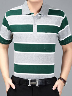 Grey and Green Plus Size Loose Polo Collar Contrast Stripe  Men Shirt for Casual Office