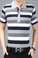 Grey White and Blue Plus Size Loose Polo Collar Contrast Stripe  Men Shirt for Casual Office