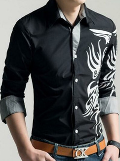 Black and White Plus Size Slim Linking Located Printing Men Shirt for Casual Party