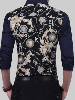 Blue Black Colorful Plus Size Slim Located Printing Lapel Buttons Men Shirt for Casual Party