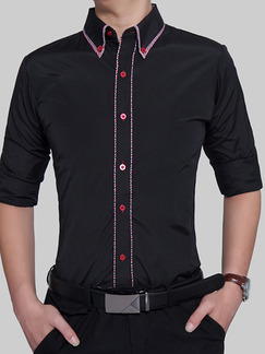 Black and Red Plus Size Slim Contrast Hemming Lapel Buttons Men Shirt for Casual