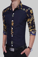 Blue Plus Size Slim Linking Printed Lapel Buttons Men Shirt for Casual Party
