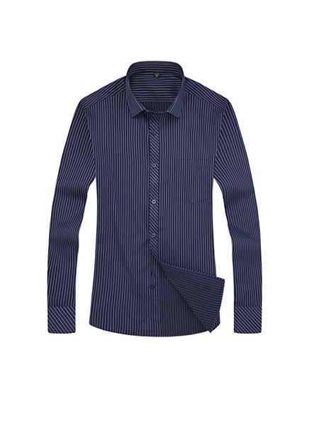 Blue Plus Size Slim Stripe Lapel Buttons Long Sleeve Men Shirt for Casual Office