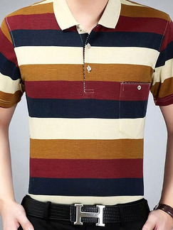 Colorful Plus Size Slim Contrast Stripe Polo Collar Pocket Men Shirt for Casual Office
