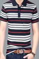 Colorful Plus Size Slim Contrast Stripe Lapel Pocket Men Shirt for Casual Office