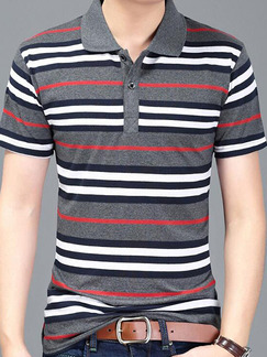 Grey Colorful Plus Size Slim Contrast Stripe Lapel Pocket Men Shirt for Casual Office