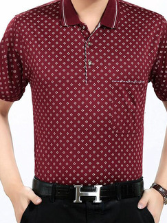 Red Plus Size Loose Printed Lapel Pocket Men Shirt for Casual Office