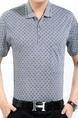 Grey Plus Size Loose Printed Lapel Pocket Men Shirt for Casual Office