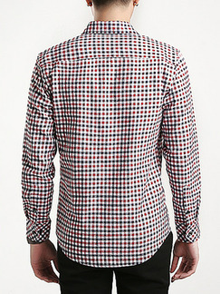 Red Blue and White Plus Size Slim Grid Lapel Buttons Pocket Long Sleeve Men Shirt for Casual Office