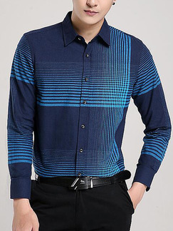 Blue Plus Size Slim Contrast Stripe Lapel Buttons Pocket Long Sleeve Men Shirt for Casual Office