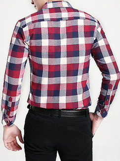 Red Colorful Plus Size Slim Contrast Grid Lapel Buttons Pocket Long Sleeve Men Shirt for Casual Party Office