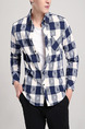 Blue and White Plus Size Slim Contrast Grid Lapel Buttons Pocket Long Sleeve Men Shirt for Casual Party Office