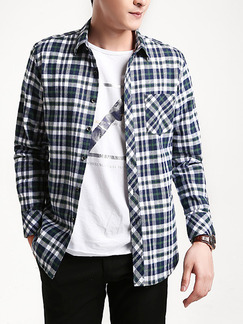 Blue and White Plus Size Slim Contrast Grid Lapel Buttons Pocket Long Sleeve Men Shirt for Casual Office Party