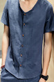 Blue Plus Size Loose V Neck Buttons Men Shirt for Casual