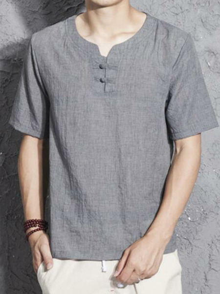 Grey Plus Size Loose Chinese Buttons Round Neck Men Shirt for Casual