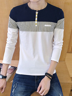 White and Blue Plus Size Contrast Linking Stripe Round Neck Buttons Long Sleeve Men Shirt for Casual Party