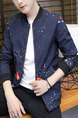 Blue Colorful Plus Size Slim Stand Collar Printed Zipper Front Long Sleeve Men Jacket for Casual