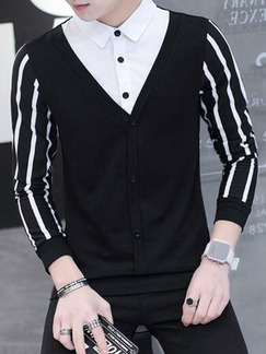 Black and White Plus Size Slim Contrast Linking Stripe Seem-Two Lapel Buttons Long Sleeve Men Shirt for Cocktail Party Evening