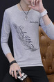 Grey Plus Size Slim Round Neck Located Printing Long Sleeve Men Shirt for Casual
