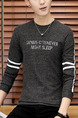 Grey and White Plus Size Slim Round Neck Contrast Linking Letter Printed Long Sleeve Men Shirt for Casual