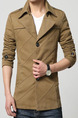 Brown Plus Size Slim Lapel Buttons Furcal Back Long Sleeve Men Coat for Casual
