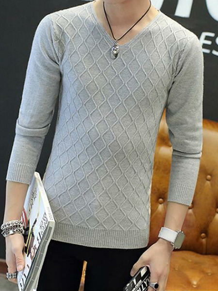 Grey Slim Knitting V Neck Long Sleeve Men Sweater for Casual