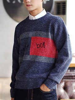 Blue and Red Slim Knitting Round Neck Contrast Linking Letter Printed Long Sleeve Men Sweater for Casual