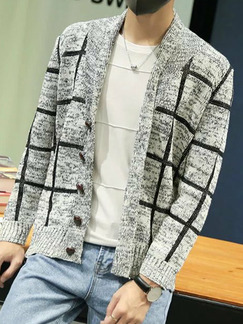 White and Black Plus Size Slim Grid Buttons Men Cardigan for Casual